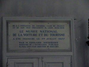 Musée de la voiture-Plaque inauguration -1927