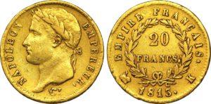 20 francs or Napoléon à la tête laurée, Empire français, 1813, Bordeaux.