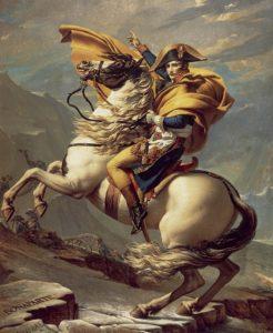 Bonaparte franchissant le Grand-Saint-Bernard par Jacques-Louis David (musée du château de Malmaison).