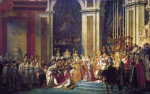Le 2 décembre 1804 : Le Sacre de Napoléon par David (1807) ; cette scène, reconstituée à partir de croquis, montre le moment où Napoléon prend des mains de Pie VII la couronne impériale pour en coiffer sa femme l'impératrice Joséphine.