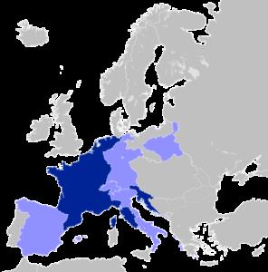 L'Empire à son apogée en 1812 (en bleu foncé : la France ; en bleu clair : les territoires vassaux de la France).