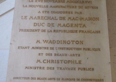 Plaque inauguration de la Nouvelle Manufacture de Sèvres en 1876